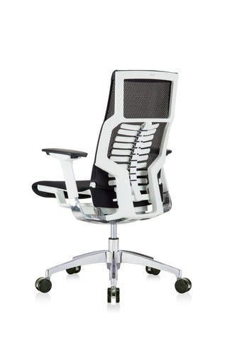 Eurotech Powerfit - White Frame, Mesh Back/ Fabric Seat, Black (Back Angle View)(
