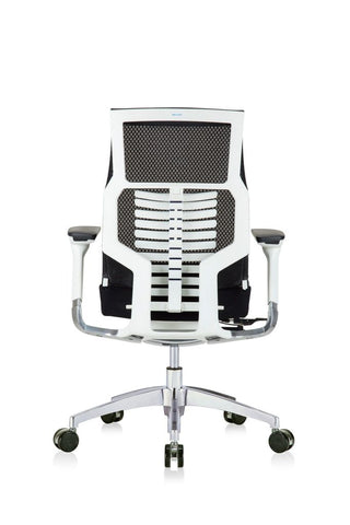 Eurotech Powerfit - White Frame, Mesh Back/ Fabric Seat, Black (Back View)