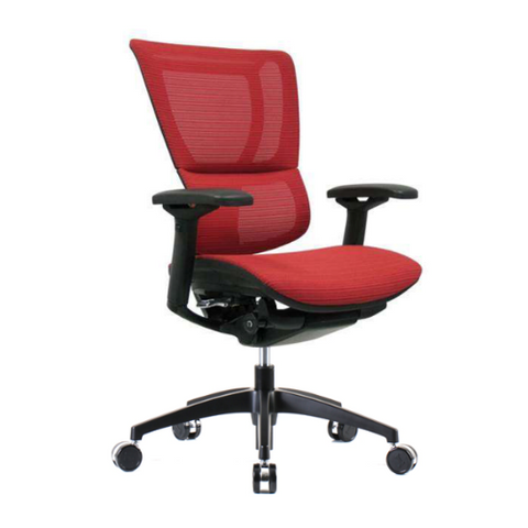 iOO Eurotech Office Ergonomic Chair in Bright Red Mesh and Black Frame Pictured from Angled View
