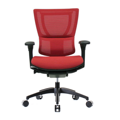 iOO Eurotech Office Ergonomic Chair in Bright Red Mesh and Black Frame from Font Facing View