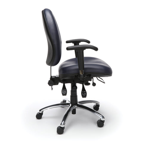 OFM Model 247-VAM 24 Hour Big and Tall Ergonomic Computer Swivel Task Chair with Arms, Anti-Microbial/Anti-Bacterial Vinyl, Navy ; UPC: 811588013043 ; Image 4