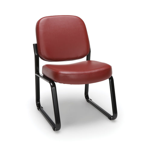 OFM Model 405-VAM Armless Guest and Reception Chair, Anti-Microbial/Anti-Bacterial Vinyl, Wine ; UPC: 811588014330 ; Image 1