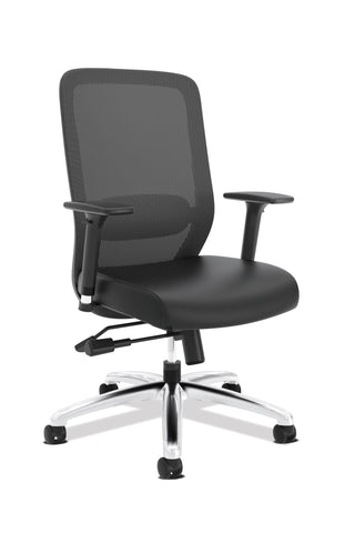 HON Exposure Mesh Task Chair - Mesh High-Back Computer Chair with Leather Seat for Office Desk, Black (HVL721) ; UPC: 089191242994 ; Image 1