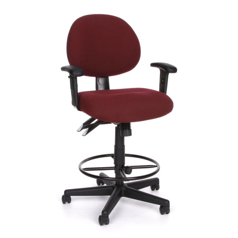 OFM 241-AA-DK 24 Hour Ergonomic Upholstered Task Chair with Arms and Drafting Kit, Burgundy ; UPC: 845123012420 ; Image 1