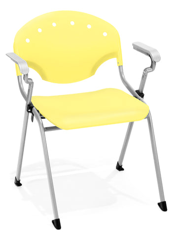 OFM Rico Series Model 306 Plastic Stack Chair with Arms, Yellow ; UPC: 811588013685 ; Image 1