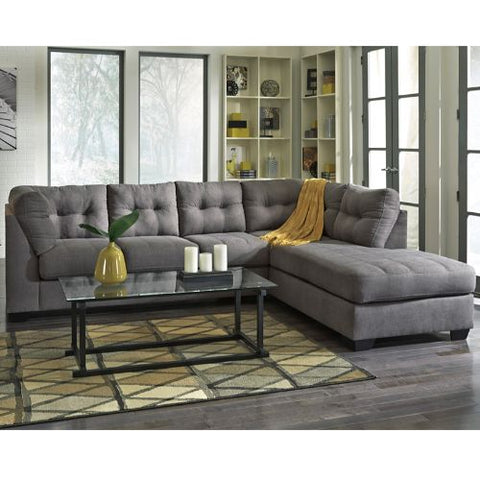 Flash Furniture Benchcraft Maier Sectional with Right Side Facing Chaise in Charcoal Microfiber FBC2349RFSECCRCGG ; Image 3 ; UPC 889142003830