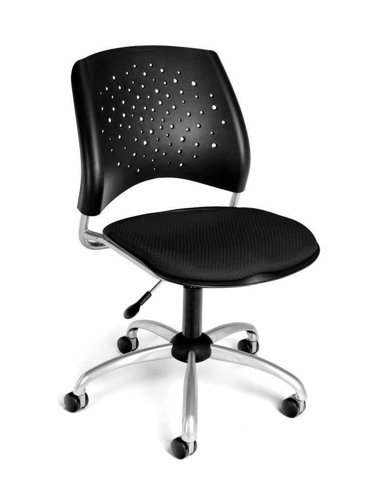 OFM Stars Series Armless Fabric Swivel Chair, Black ; UPC: 845123004661 ; Image 1