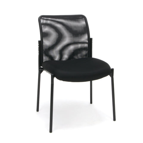 Essentials by OFM ESS-8000 Mesh Back Upholstered Armless Side Chair, Black ; UPC: 845123089385 ; Image 1
