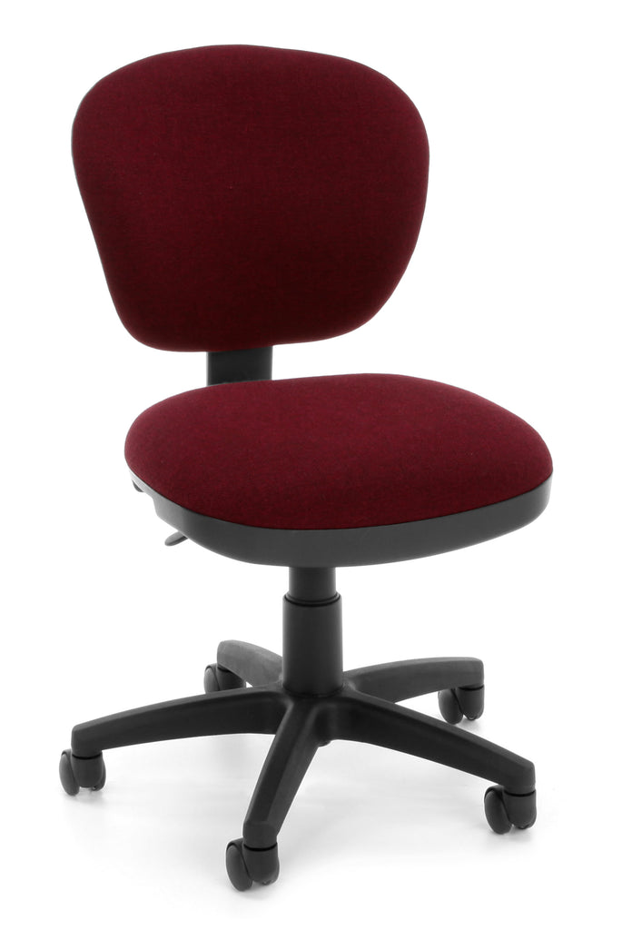 OFM Lite Use Model 150 Armless Computer Swivel Task Chair, Fabric, Burgundy ; UPC: 845123028957 ; Image 1