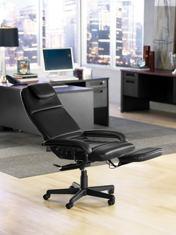 OFM Model 680 Ergonomic High-Back Executive Reclining Office Chair with Footrest, Anti-Microbial/Anti-Bacterial Vinyl, Black ; UPC: 811588015368 ; Image 4
