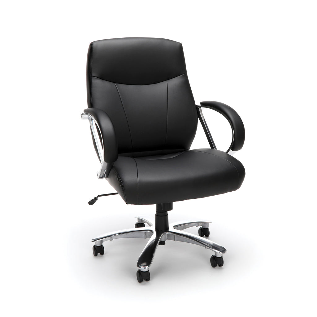 OFM Avenger Series Model 811-LX Leather Mid-Back Big and Tall Executive Chair, Black ; UPC: 845123009918 ; Image 1