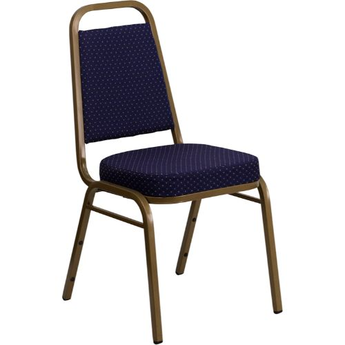 Flash Furniture HERCULES Series Trapezoidal Back Stacking Banquet Chair in Navy Patterned Fabric - Gold Frame FDBHF1ALLGOLD0849NVYGG ; Image 1 ; UPC 847254008358