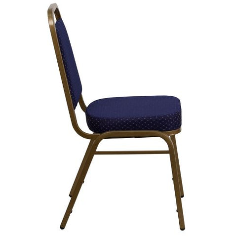 Flash Furniture HERCULES Series Trapezoidal Back Stacking Banquet Chair in Navy Patterned Fabric - Gold Frame FDBHF1ALLGOLD0849NVYGG ; Image 2 ; UPC 847254008358