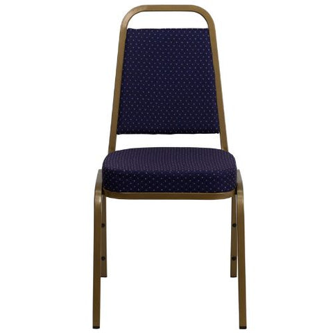Flash Furniture HERCULES Series Trapezoidal Back Stacking Banquet Chair in Navy Patterned Fabric - Gold Frame FDBHF1ALLGOLD0849NVYGG ; Image 4 ; UPC 847254008358