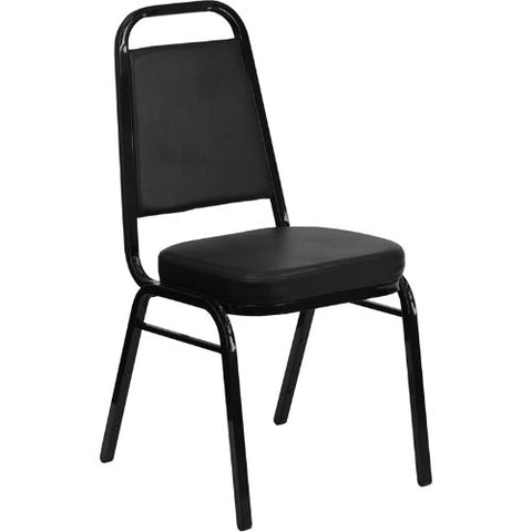 Flash Furniture HERCULES Series Trapezoidal Back Stacking Banquet Chair in Black Vinyl - Black Frame FDBHF1GG ; Image 1 ; UPC 847254006736