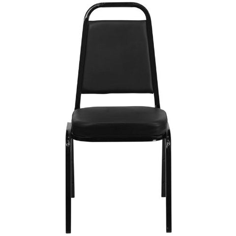 Flash Furniture HERCULES Series Trapezoidal Back Stacking Banquet Chair in Black Vinyl - Black Frame FDBHF1GG ; Image 4 ; UPC 847254006736