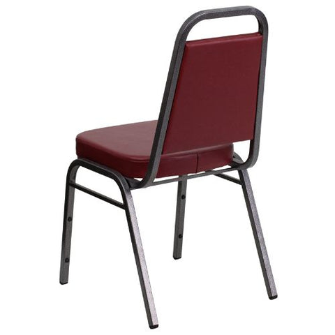 Flash Furniture HERCULES Series Trapezoidal Back Stacking Banquet Chair in Burgundy Vinyl - Silver Vein Frame FDBHF1SILVERVEINBYGG ; Image 3 ; UPC 847254008341