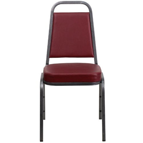 Flash Furniture HERCULES Series Trapezoidal Back Stacking Banquet Chair in Burgundy Vinyl - Silver Vein Frame FDBHF1SILVERVEINBYGG ; Image 4 ; UPC 847254008341