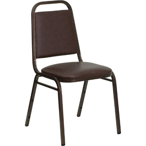 Flash Furniture HERCULES Series Trapezoidal Back Stacking Banquet Chair in Brown Vinyl - Copper Vein Frame FDBHF2BNGG ; Image 1 ; UPC 812581019162