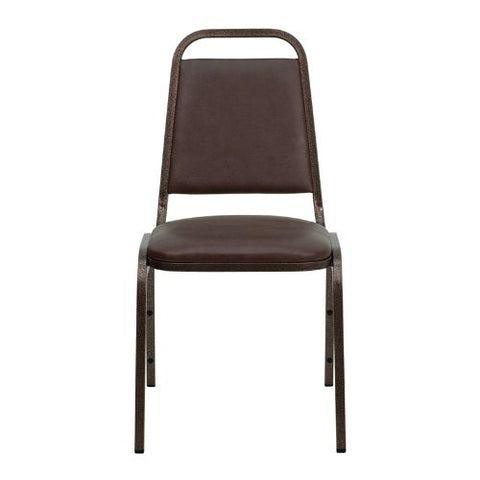 Flash Furniture HERCULES Series Trapezoidal Back Stacking Banquet Chair in Brown Vinyl - Copper Vein Frame FDBHF2BNGG ; Image 4 ; UPC 812581019162