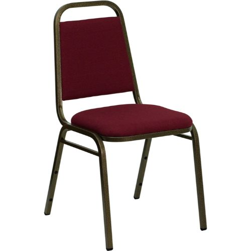 Flash Furniture HERCULES Series Trapezoidal Back Stacking Banquet Chair in Burgundy Fabric - Gold Vein Frame FDBHF2BYGG ; Image 1 ; UPC 812581019179