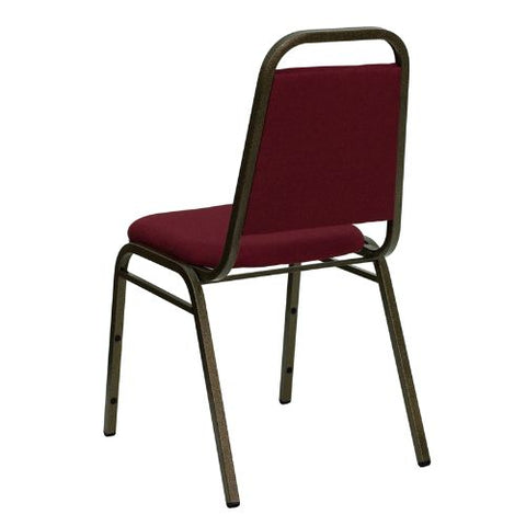 Flash Furniture HERCULES Series Trapezoidal Back Stacking Banquet Chair in Burgundy Fabric - Gold Vein Frame FDBHF2BYGG ; Image 3 ; UPC 812581019179