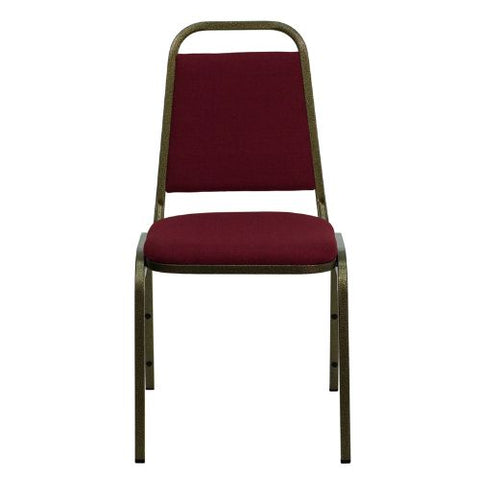 Flash Furniture HERCULES Series Trapezoidal Back Stacking Banquet Chair in Burgundy Fabric - Gold Vein Frame FDBHF2BYGG ; Image 4 ; UPC 812581019179