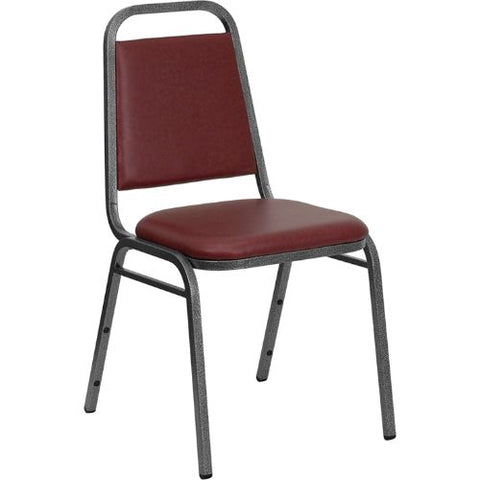 Flash Furniture HERCULES Series Trapezoidal Back Stacking Banquet Chair in Burgundy Vinyl - Silver Vein Frame FDBHF2BYVYLGG ; Image 1 ; UPC 812581019186