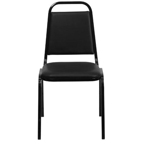 Flash Furniture HERCULES Series Trapezoidal Back Stacking Banquet Chair in Black Vinyl - Black Frame FDBHF2GG ; Image 4 ; UPC 812581019193