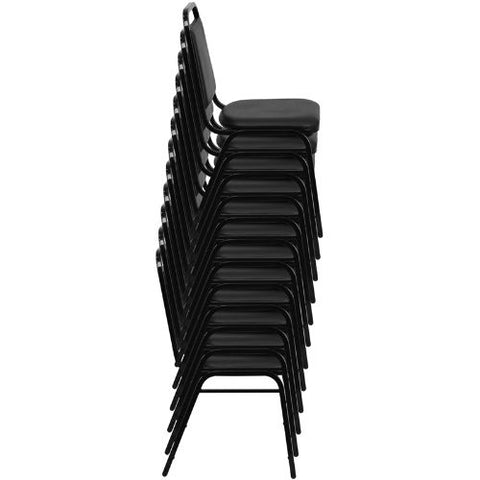 Flash Furniture HERCULES Series Trapezoidal Back Stacking Banquet Chair in Black Vinyl - Black Frame FDBHF2GG ; Image 5 ; UPC 812581019193