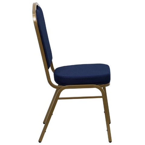 Flash Furniture HERCULES Series Crown Back Stacking Banquet Chair in Navy Blue Patterned Fabric - Gold Frame FDC01ALLGOLD2056GG ; Image 2 ; UPC 847254004947