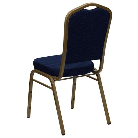 Flash Furniture HERCULES Series Crown Back Stacking Banquet Chair in Navy Blue Patterned Fabric - Gold Frame FDC01ALLGOLD2056GG ; Image 3 ; UPC 847254004947