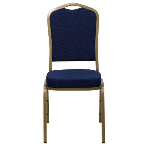 Flash Furniture HERCULES Series Crown Back Stacking Banquet Chair in Navy Blue Patterned Fabric - Gold Frame FDC01ALLGOLD2056GG ; Image 4 ; UPC 847254004947