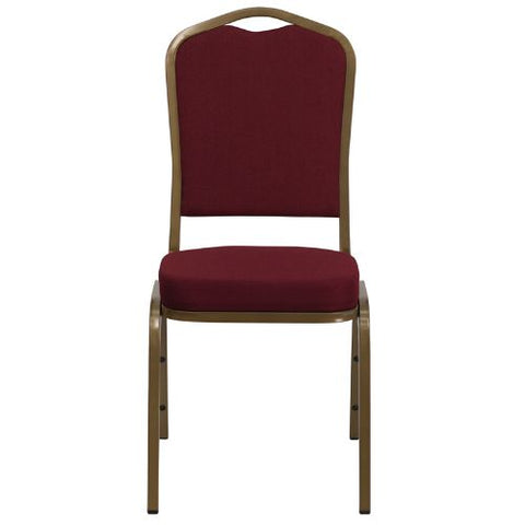 Flash Furniture HERCULES Series Crown Back Stacking Banquet Chair in Burgundy Fabric - Gold Frame FDC01ALLGOLD3169GG ; Image 4 ; UPC 847254004909