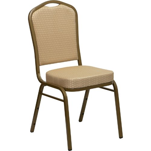 Flash Furniture HERCULES Series Crown Back Stacking Banquet Chair in Beige Patterned Fabric - Gold Frame FDC01ALLGOLDH20124EGG ; Image 1 ; UPC 847254006347