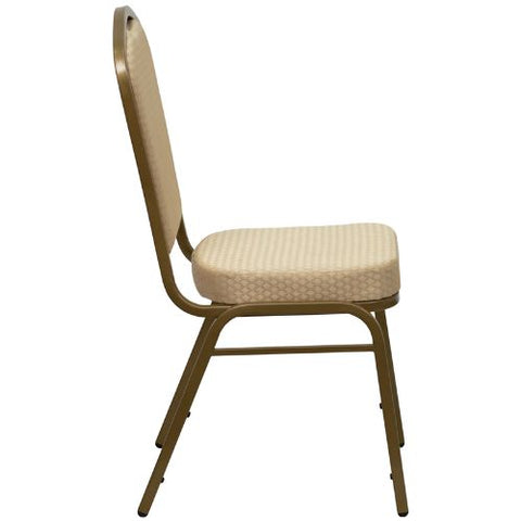 Flash Furniture HERCULES Series Crown Back Stacking Banquet Chair in Beige Patterned Fabric - Gold Frame FDC01ALLGOLDH20124EGG ; Image 2 ; UPC 847254006347
