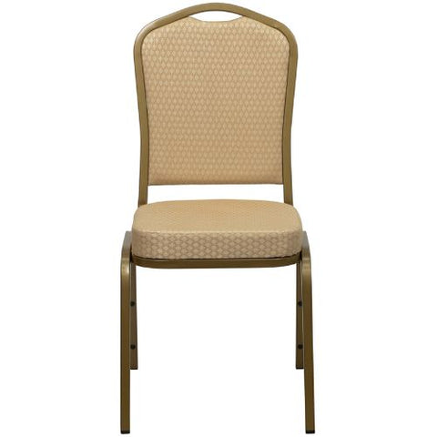 Flash Furniture HERCULES Series Crown Back Stacking Banquet Chair in Beige Patterned Fabric - Gold Frame FDC01ALLGOLDH20124EGG ; Image 4 ; UPC 847254006347