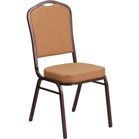 Flash Furniture HERCULES Series Crown Back Stacking Banquet Chair in Light Brown Fabric - Copper Vein Frame FDC01C4GG ; Image 1 ; UPC 889142074939