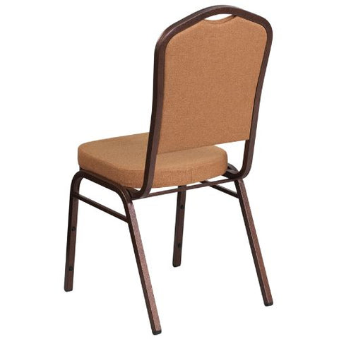 Flash Furniture HERCULES Series Crown Back Stacking Banquet Chair in Light Brown Fabric - Copper Vein Frame FDC01C4GG ; Image 3 ; UPC 889142074939