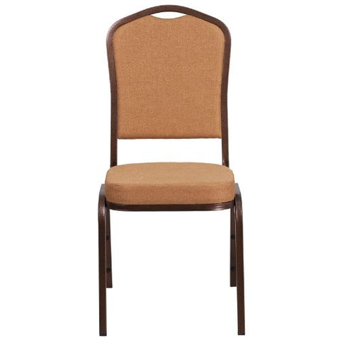 Flash Furniture HERCULES Series Crown Back Stacking Banquet Chair in Light Brown Fabric - Copper Vein Frame FDC01C4GG ; Image 4 ; UPC 889142074939