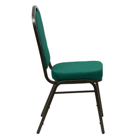 Flash Furniture HERCULES Series Crown Back Stacking Banquet Chair in Green Fabric - Gold Vein Frame FDC01GOLDVEINGNGG ; Image 2 ; UPC 847254054379