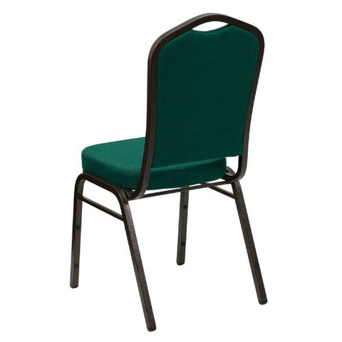 Flash Furniture HERCULES Series Crown Back Stacking Banquet Chair in Green Fabric - Gold Vein Frame FDC01GOLDVEINGNGG ; Image 3 ; UPC 847254054379