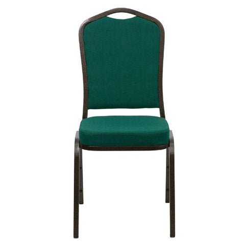 Flash Furniture HERCULES Series Crown Back Stacking Banquet Chair in Green Fabric - Gold Vein Frame FDC01GOLDVEINGNGG ; Image 4 ; UPC 847254054379