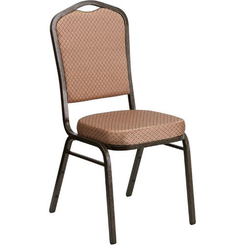Flash Furniture HERCULES Series Crown Back Stacking Banquet Chair in Gold Diamond Patterned Fabric - Gold Vein Frame FDC01GOLDVEINGOGG ; Image 1 ; UPC 847254054096