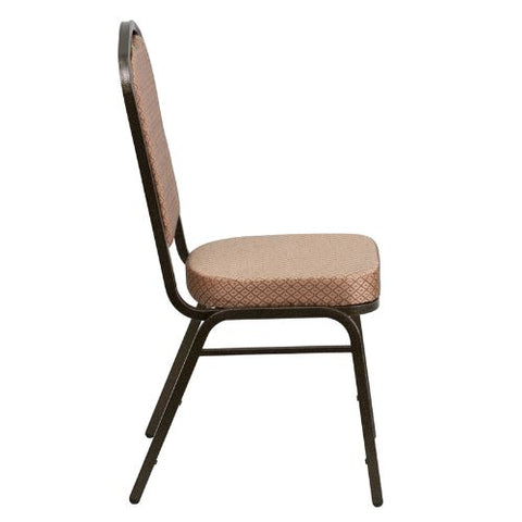 Flash Furniture HERCULES Series Crown Back Stacking Banquet Chair in Gold Diamond Patterned Fabric - Gold Vein Frame FDC01GOLDVEINGOGG ; Image 2 ; UPC 847254054096