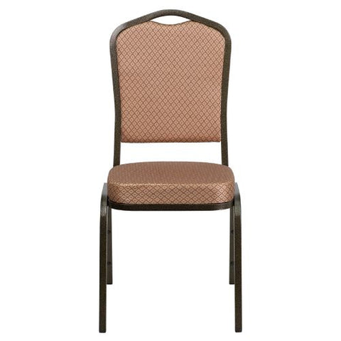 Flash Furniture HERCULES Series Crown Back Stacking Banquet Chair in Gold Diamond Patterned Fabric - Gold Vein Frame FDC01GOLDVEINGOGG ; Image 4 ; UPC 847254054096