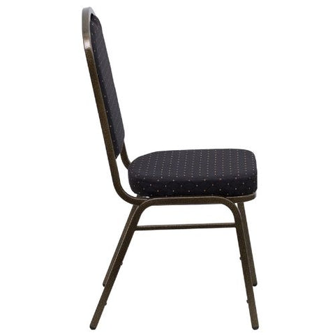Flash Furniture HERCULES Series Crown Back Stacking Banquet Chair in Black Patterned Fabric - Gold Vein Frame FDC01GOLDVEINS0806GG ; Image 2 ; UPC 847254009263