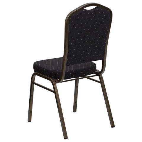 Flash Furniture HERCULES Series Crown Back Stacking Banquet Chair in Black Patterned Fabric - Gold Vein Frame FDC01GOLDVEINS0806GG ; Image 3 ; UPC 847254009263