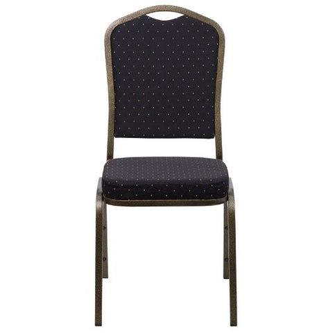 Flash Furniture HERCULES Series Crown Back Stacking Banquet Chair in Black Patterned Fabric - Gold Vein Frame FDC01GOLDVEINS0806GG ; Image 4 ; UPC 847254009263