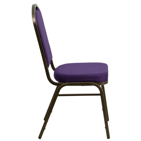 Flash Furniture HERCULES Series Crown Back Stacking Banquet Chair in Purple Fabric - Gold Vein Frame FDC01PURGVGG ; Image 2 ; UPC 847254060516